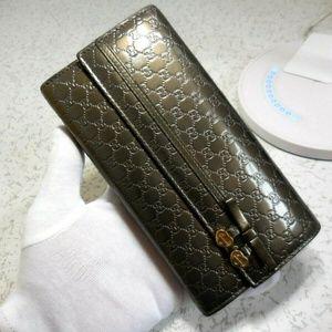 Gucci Gunmetal Silver Microguccissima Wallet